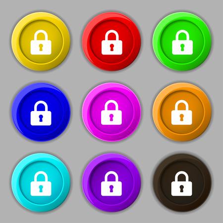 pad lock: Pad Lock icon sign. symbol on nine round colourful buttons. illustration