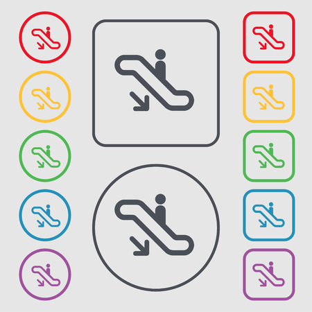 escalate: elevator, Escalator, Staircase icon sign. symbol on the Round and square buttons with frame. illustration