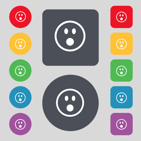 stress ball: Shocked Face Smiley icon sign. A set of 12 colored buttons. Flat design. illustration