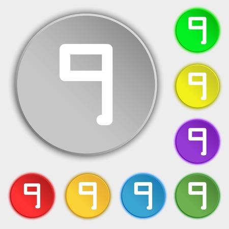 numero nueve: Número Nueve iconos de signo. Símbolos en ocho botones planos. ilustración Foto de archivo