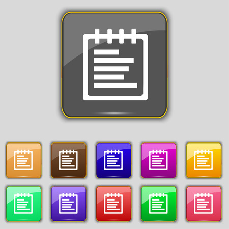 message pad: Notepad icon sign. Set with eleven colored buttons for your site. illustration