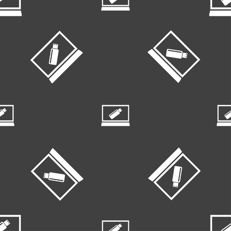 quality controller: usb flash drive and monitor sign icon. Video game symbol. Seamless pattern on a gray background. illustration