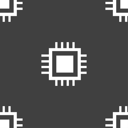 Central Processing Unit Icon. Technology scheme circle symbol. Seamless pattern on a gray background. illustration