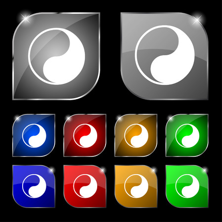 karma concept: Yin Yang icon sign. Set of ten colorful buttons with glare. illustration