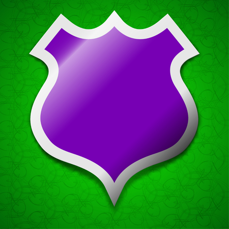 security token: shield icon sign. Symbol chic colored sticky label on green background. illustration