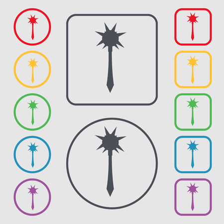 mace: Mace icon sign. symbol on the Round and square buttons with frame. illustration