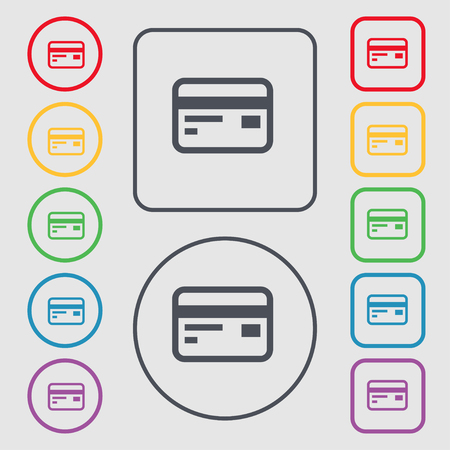 cashless: Credit, debit card icon sign. symbol on the Round and square buttons with frame. illustration Stock Photo