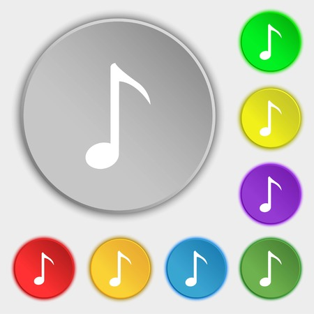 eight note: Music note icon sign. Symbols on eight flat buttons. illustration Stock Photo