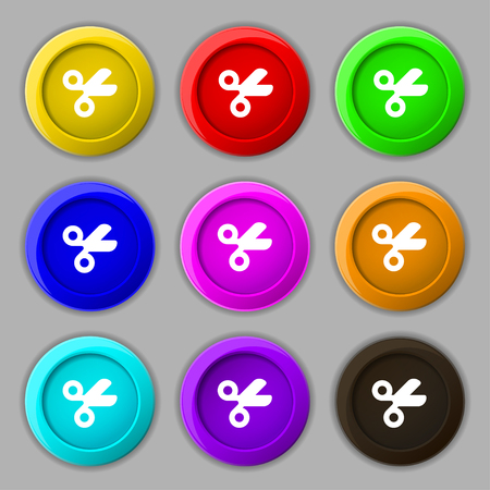 disclosed: Scissors hairdresser, Tailor icon sign. symbol on nine round colourful buttons. illustration