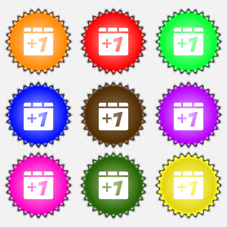 append: Plus one, Add one icon sign. A set of nine different colored labels. illustration