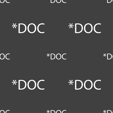 file extension: File document icon. Download doc button. Doc file extension symbol. Seamless pattern on a gray background. illustration