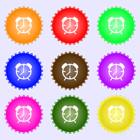 wake up call: Alarm clock sign icon. Wake up alarm symbol. A set of nine different colored labels. illustration