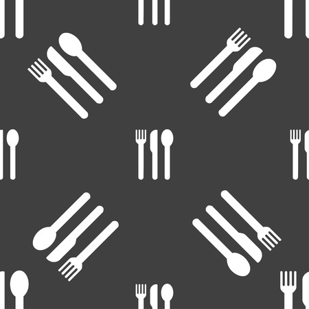 fork knife spoon: fork, knife, spoon icon sign. Seamless pattern on a gray background. illustration