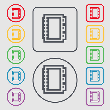 videobook: Book icon sign. symbol on the Round and square buttons with frame. illustration Stock Photo