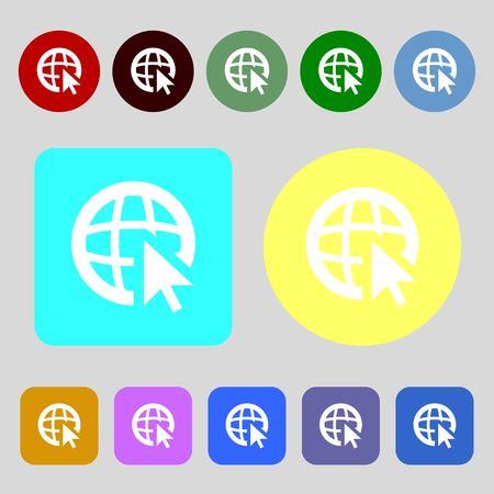 world wide: Internet sign icon. World wide web symbol. Cursor pointer.12 colored buttons. Flat design. illustration