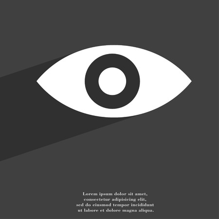 intuition: Eye, Publish content, sixth sense, intuition icon symbol Flat modern web design with long shadow and space for your text. illustration