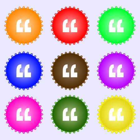 inverted: Quote sign icon. Quotation mark symbol. Double quotes at the end of words. A set of nine different colored labels. illustration