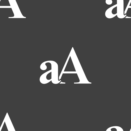 aa: Enlarge font, aA icon sign. Seamless pattern on a gray background. illustration