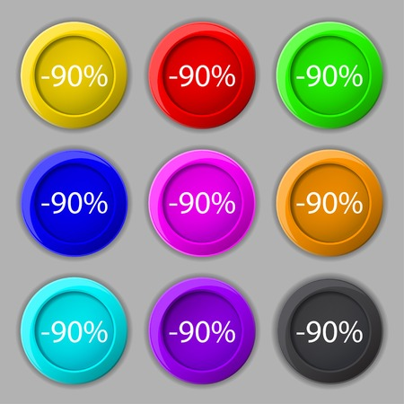 90: 90 percent discount sign icon. Sale symbol. Special offer label. Set of colored buttons illustration