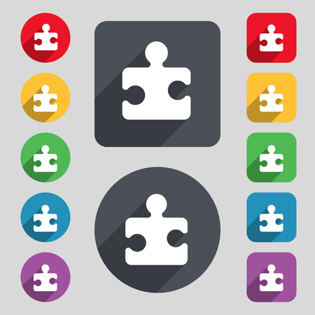 puzzle corners: Puzzle piece icon sign. A set of 12 colored buttons and a long shadow. Flat design. illustration Stock Photo