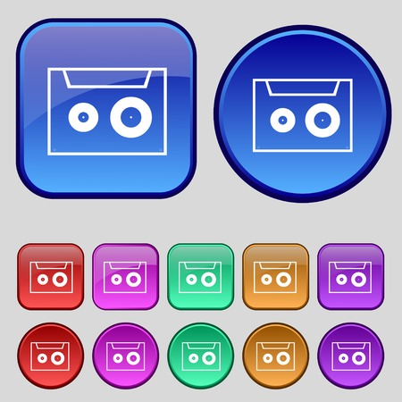 single songs: cassette sign icon. Audiocassette symbol. Set of colour buttons. illustration