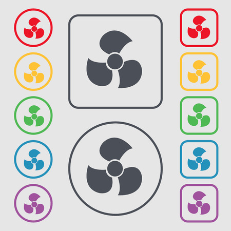 propeller: Fans, propeller icon sign. symbol on the Round and square buttons with frame. illustration