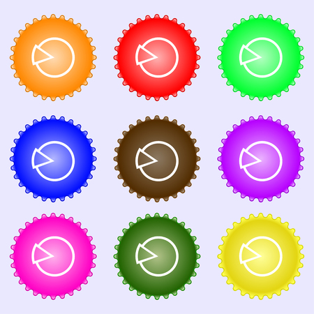 token: Pie chart graph icon sign. A set of nine different colored labels. illustration