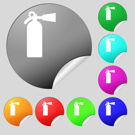 escaping: extinguisher icon sign. Set of eight multi colored round buttons, stickers. illustration Stock Photo