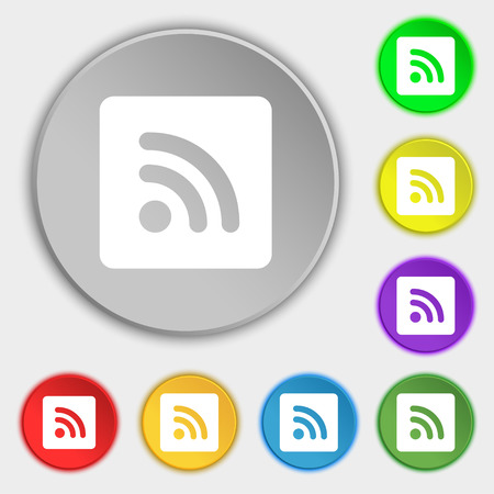 rss feed icon: RSS feed icon sign. Symbol on five flat buttons. illustration