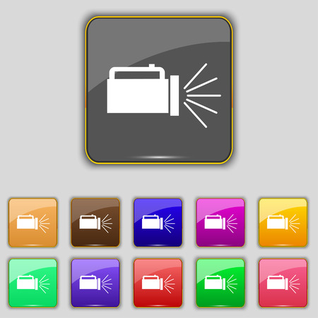 lite: flashlight icon sign. Set with eleven colored buttons for your site. Stock Photo
