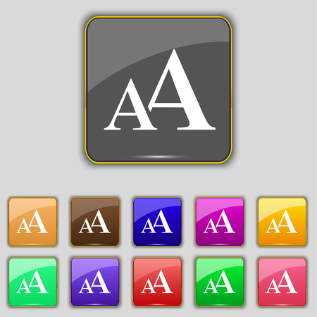 aa: Enlarge font, AA icon sign. Set with eleven colored buttons for your site. illustration Stock Photo