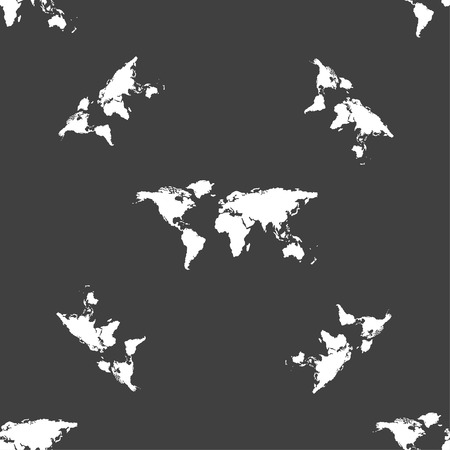 geography: Globe sign icon. World map geography symbol. Seamless pattern on a gray background. illustration Stock Photo