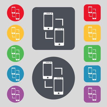 synchronization: Synchronization sign icon. smartphones sync symbol. Data exchange. Set colur buttons illustration