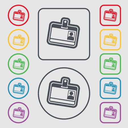 recognizing: Id card icon sign. symbol on the Round and square buttons with frame. illustration