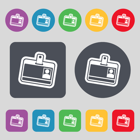 recognizing: Id card icon sign. A set of 12 colored buttons. Flat design. illustration