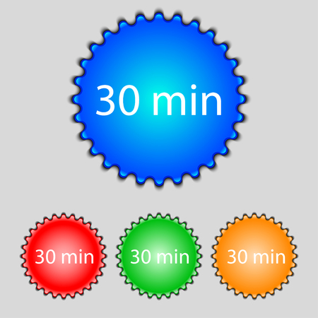 minutes: 30 minutes sign icon. Set of colored buttons. illustration