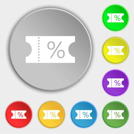 permission: ticket discount icon sign. Symbols on eight flat buttons. illustration