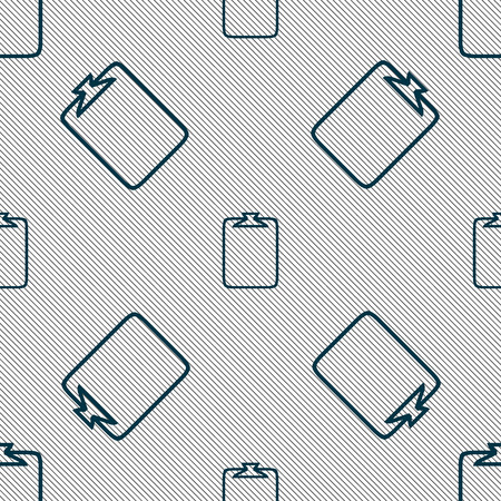 attach: File annex icon. Paper clip symbol. Attach sign. Seamless pattern with geometric texture. illustration