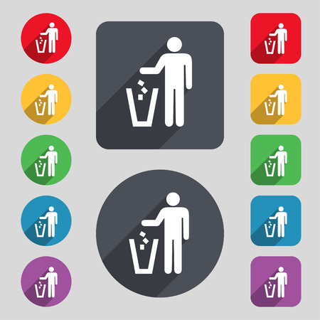 throw away: throw away the trash icon sign. A set of 12 colored buttons and a long shadow. Flat design. illustration