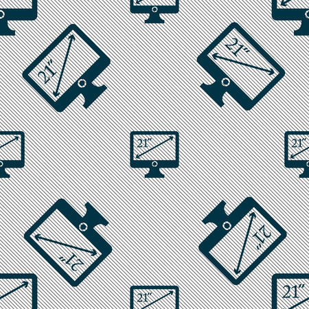 inches: diagonal of the monitor 21 inches icon sign. Seamless pattern with geometric texture. illustration Stock Photo