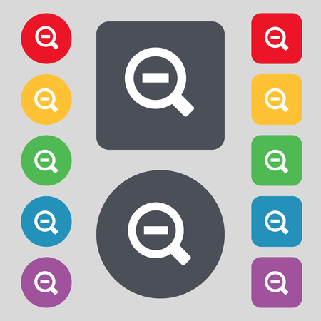 interface menu tool: Magnifier glass, Zoom tool icon sign. A set of 12 colored buttons. Flat design. illustration