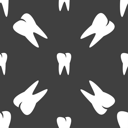 cavity braces: tooth icon. Seamless pattern on a gray background. illustration Stock Photo