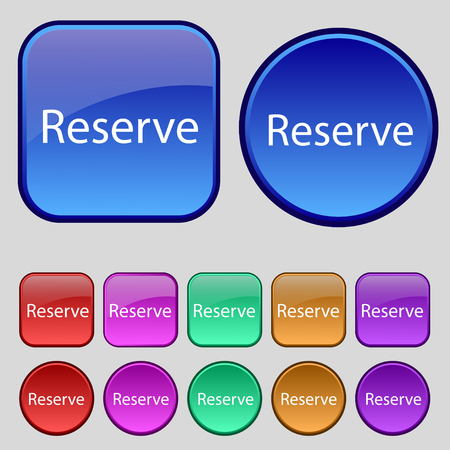 Reserved sign icon. Set of colored buttons. illustration Stock Photo