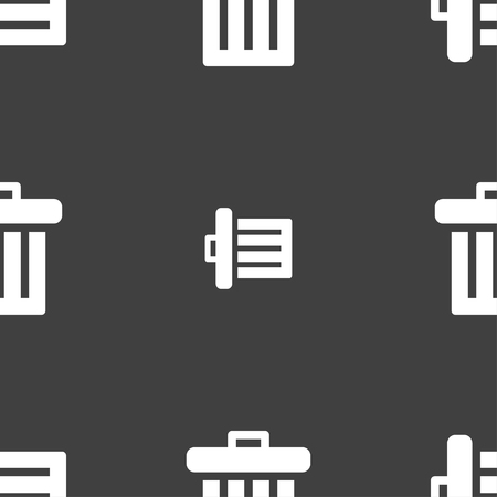 recycle bin: Recycle bin icon sign. Seamless pattern on a gray background. illustration