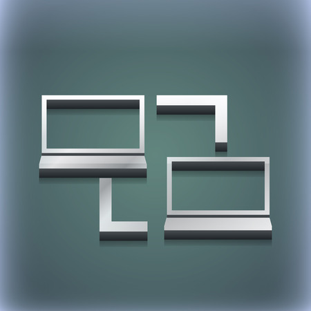 synchronization: Synchronization icon symbol. 3D style. Trendy, modern design with space for your text illustration. Raster version