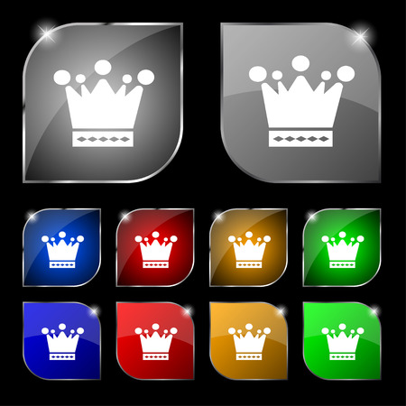 upper class: Crown icon sign. Set of ten colorful buttons with glare. illustration