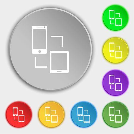 synchronization: Synchronization sign icon. communicators sync symbol. Data exchange. Symbols on eight flat buttons. illustration Stock Photo