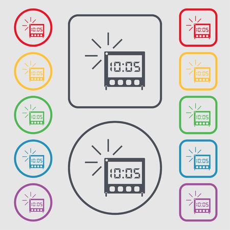 digital clock: digital Alarm Clock icon sign. Symbols on the Round and square buttons with frame. illustration