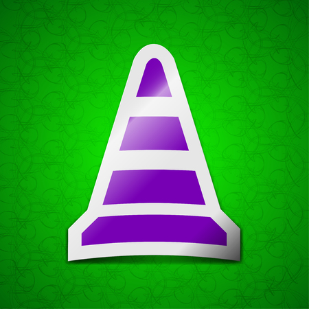 traffic pylon: road cone icon sign. Symbol chic colored sticky label on green background. illustration