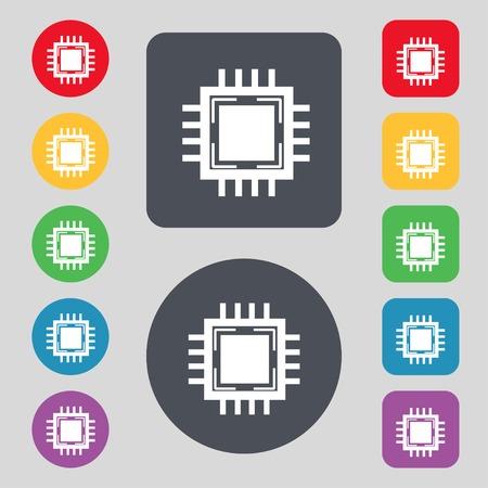 computer socket: Central Processing Unit Icon. Technology scheme circle symbol. Set colourful buttons. illustration